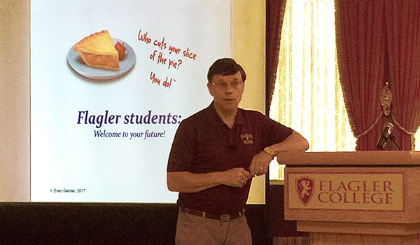 Brian Gahran presents at Flagler College in St. Augustine, Florida (2017)